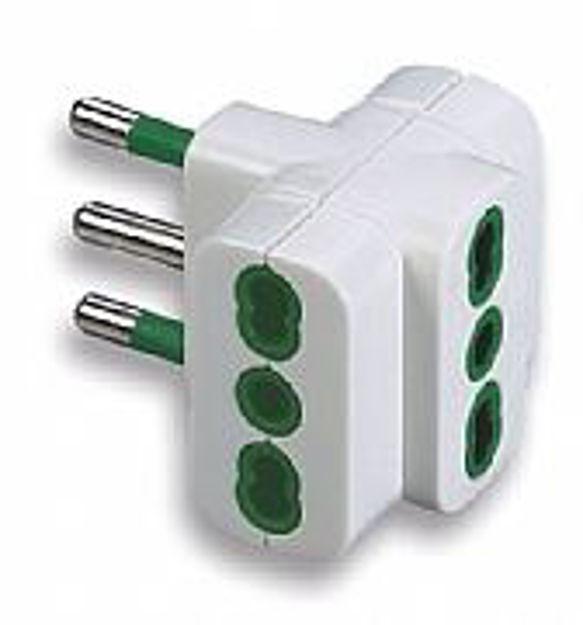 Adattatori tripli bipresa 10/16 Ampere spina 10 Ampere