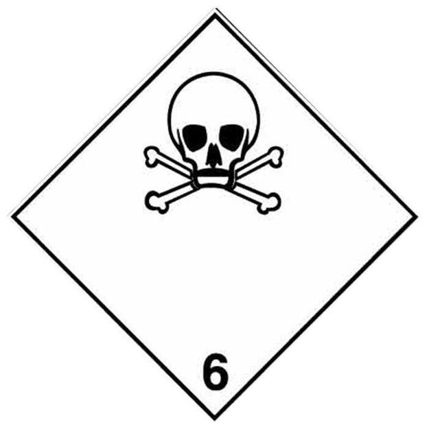 Etichetta adesiva classe 6 per trasporto materiali tossici