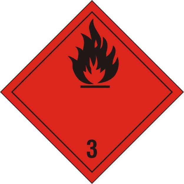 Etichetta classe 3 con fiamma