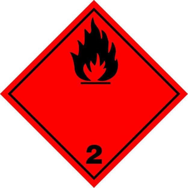 Etichetta classe 2 con fiamma